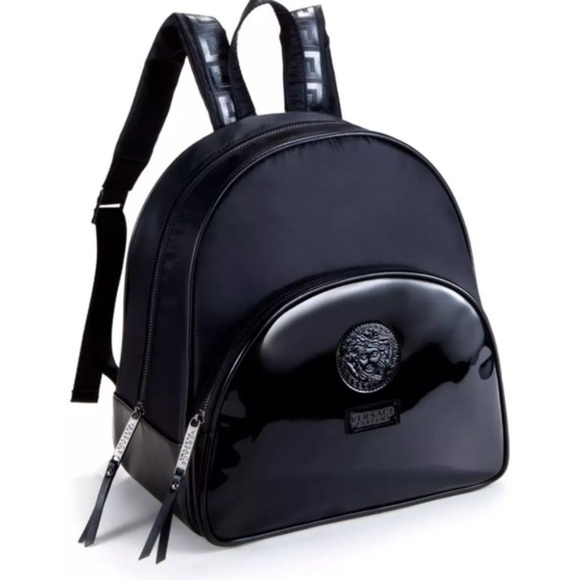 7fde81bce2 Versace Parfums black patent leather backpack NEW!  M 5a4c164705f4307e260a3d1c